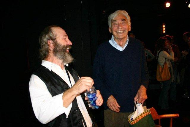 Bob Weick and Howard Zinn, laughing.JPG