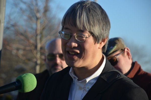 Fred Tsao addresses protesters at Dwight.jpg