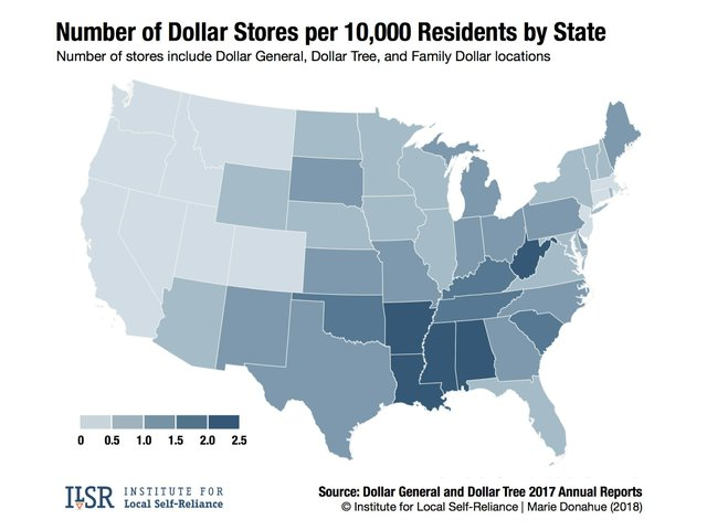 Dollar Store State Map