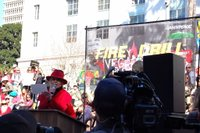 Jane Fonda speaks in front of L.A.'s City Hall at the Feb. 7 Fire Drill Fridays rally.
