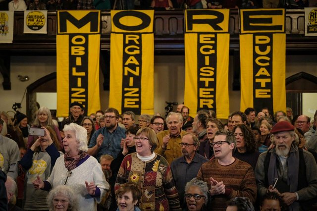 Participants at We Must Do M.O.R.E. tour stop in Greenfield, Massachusetts on February 5, 2020, photo by Steve Pavey.jpeg