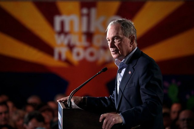 Former Mayor Michael Bloomberg at a campaign rally in Phoenix, Arizona.