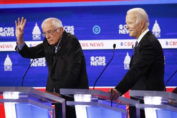 Bernie Sanders and Joe Biden at the South Carolina Democratic Debate
