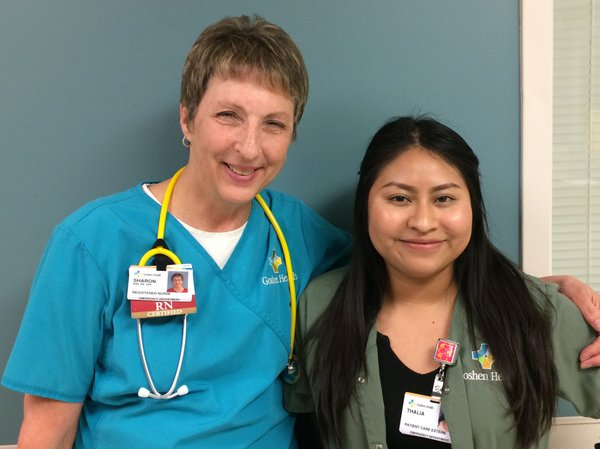 Thalia Osorio, right, with nursing preceptor Sharon Myers, in training at Goshen Hospital, Indiana, summer 2019, photo provided..jpg