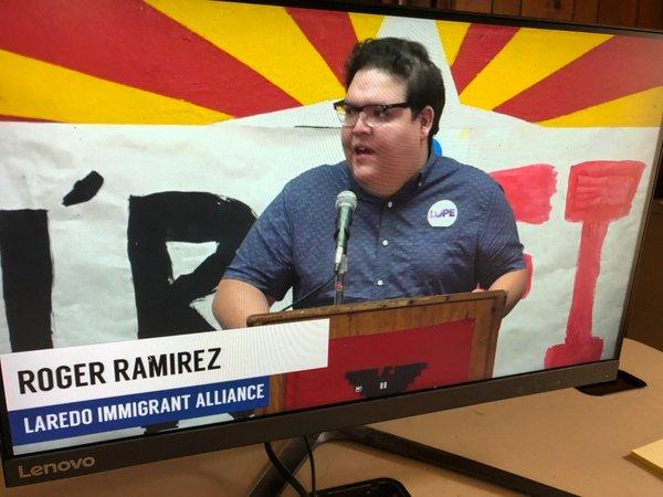 Activist Roger Ramirez addresses Border Community Town Hall in Hidalgo County, Texas on June 30, screenshot .jpg