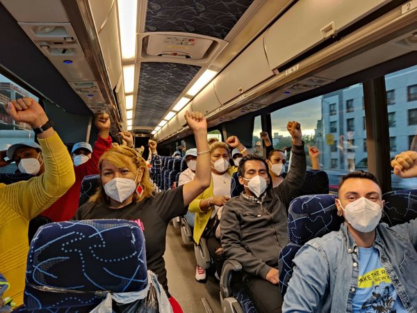 Protesters on a bus on September 21 from the New York City area bound for Immigrant Justice Week of Action in Washington, D.C., photo provided by Make the Road New York.jpeg