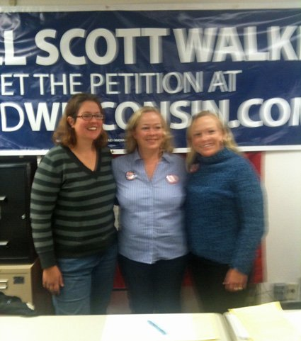 Julie Wells (center) with friends Erin Sievert and Sarah Hammer, co-coordinators for the recall effort in Jefferson County.