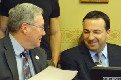 Sen. Terry Moulton and Rep. Scott Suder getting silly before the hearing